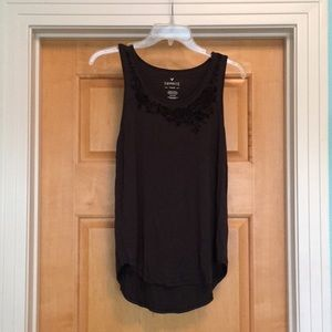Charcoal Embroidered Tank Top